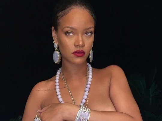 Rihanna shared a topless photo