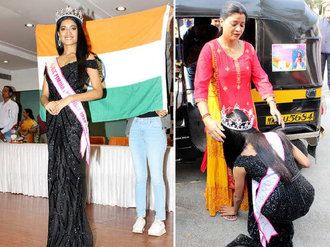ऑटो ड्राइवर की बेटी के सिर सजा मिस इंडिया का ताज, मां के पांव छूकर यूं पहुंची कॉलेज