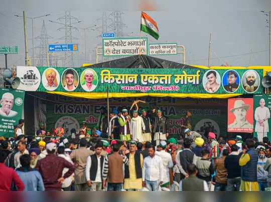 New Delhi: The Kisan Ekta Morcha stage at Ghazipur border during farmers ongoin...