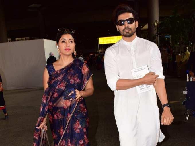 टीवी के राम-सीता का एयरपोर्ट पर स्टाइलिश अवतार, भारतीय लिबास में जोड़ी लगी सुंदर