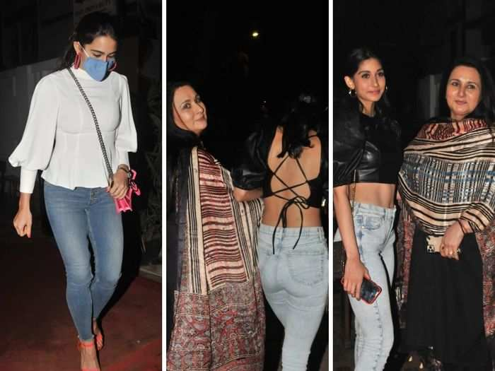 sara ali khan style gets fade away in front of poonam dhillon daughter paloma thakeria backless top look