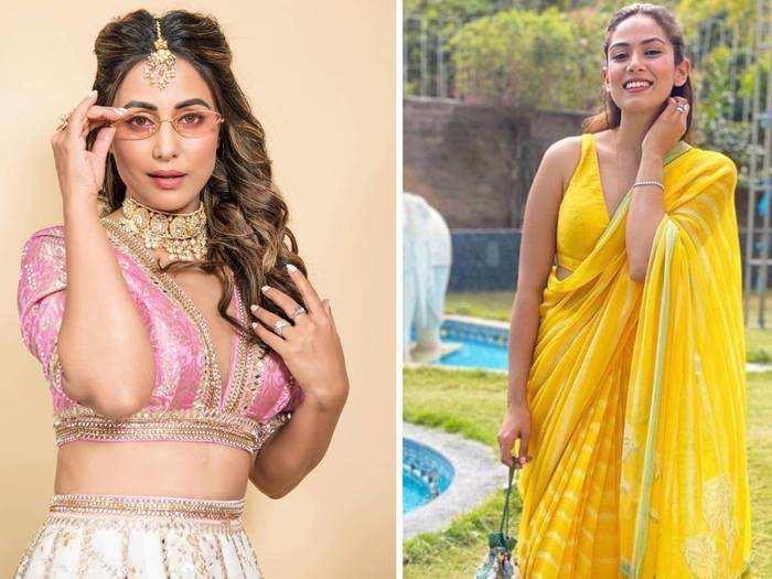 fashion faceoff hina khan and mira rajput kapoor in violet golden lehenga