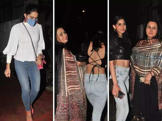 sara ali khan style faded in front of poonam dhillon daughter see paloma thakeria backless top look in marathi