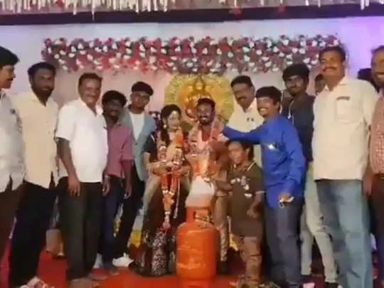 petrol, gas cylinder and onions as wedding gift