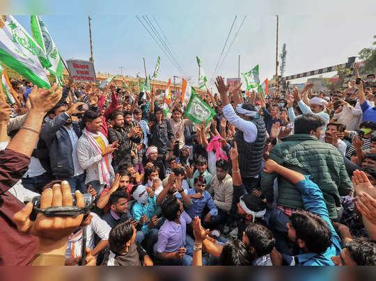 Jaipur: Bhartiya Kisan Union activists block a railway track during a four-hour ...