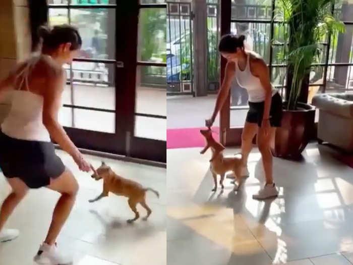 Malaika arora playing with her dog coco