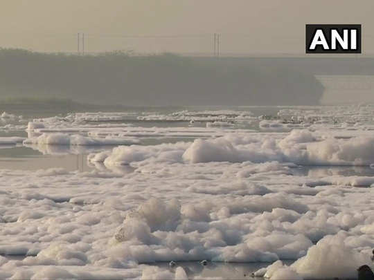 toxic foam was seen floating on the surface of yamuna river in delhi