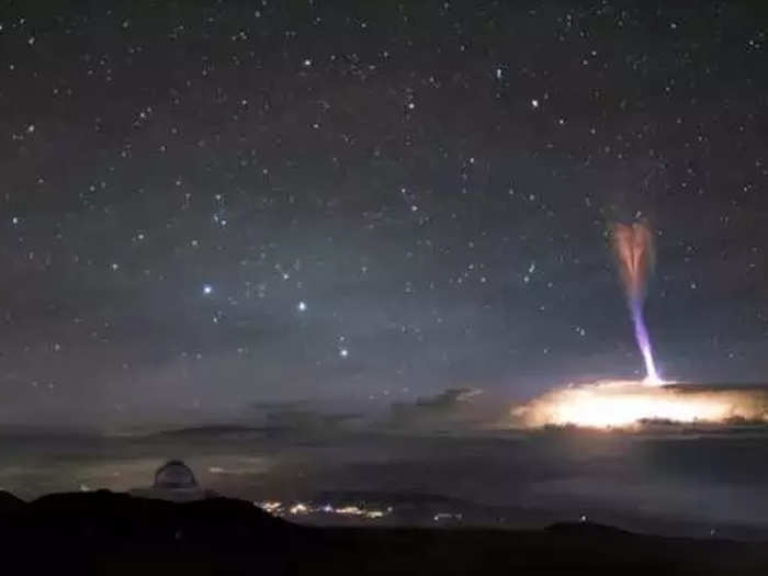 blue jets and red sprites seen together in sky in rare phenomenon