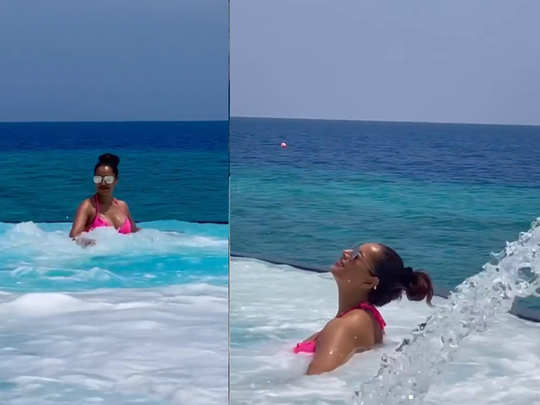 Bipasha Basu enjoying pool in maldives