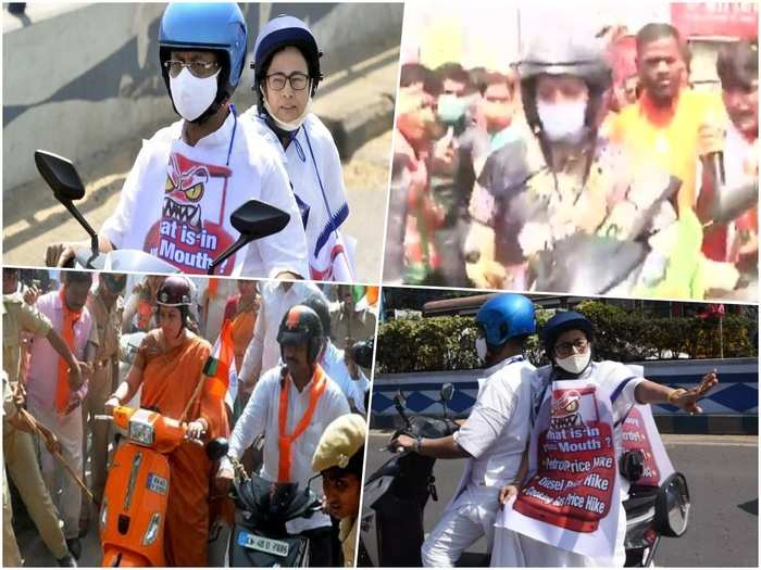 west bengal election after chief minister mamta banerjee union minister smriti irani on two wheeler