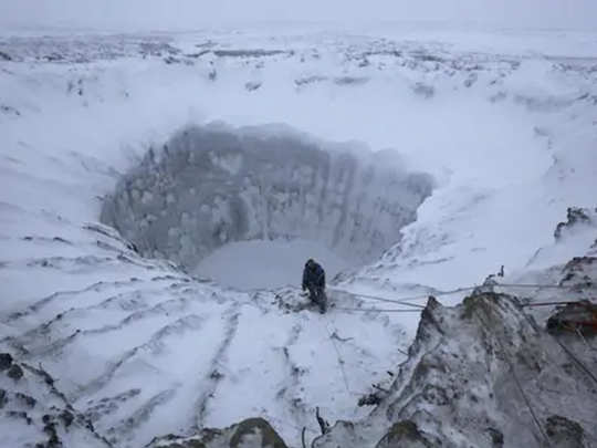 siberian blowout craters are formed due to degassing of methane with climate change