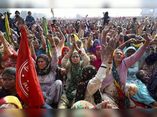 Jhajjar: Women attend a Kisan Mahapanchayat in support of the ongoing farmers...