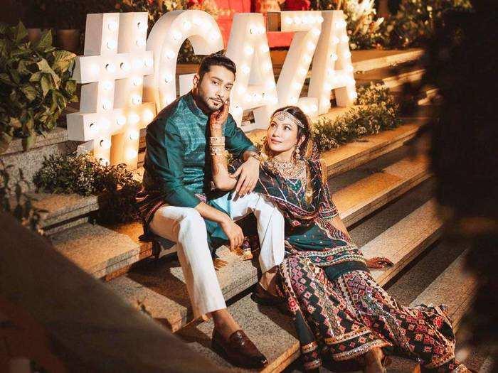 gauahar khan brutally trolled for her wedding reception maroon velvet sparkly lehenga