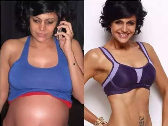 how mandira bedi reduce weight after pregnancy in marathi
