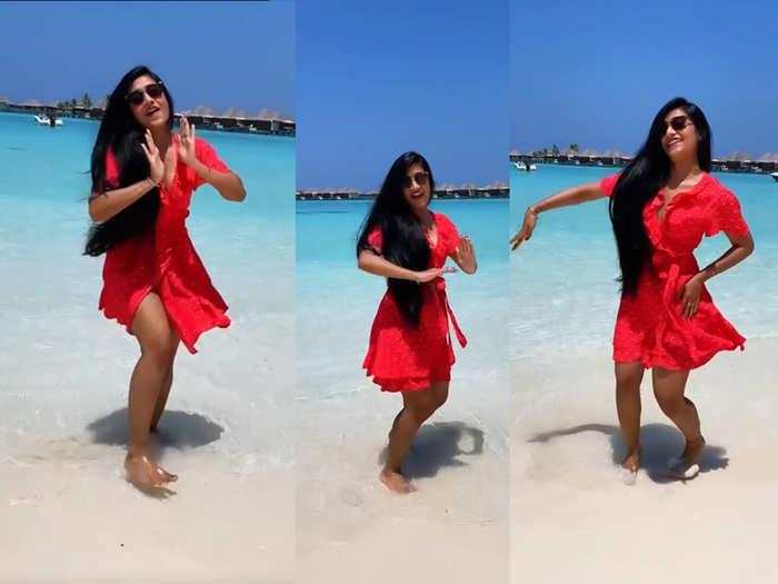 yuzvendra chahal wife dhanashree verma dance video viral on social media in red dress watch