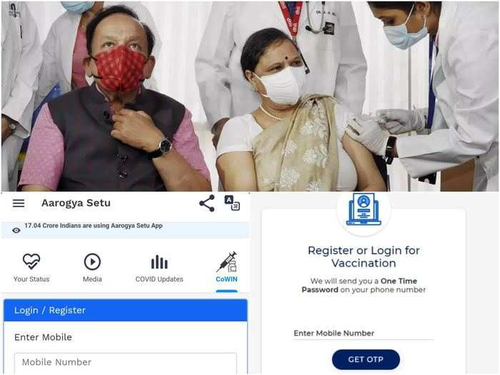 covid 19 vaccine registration on cowin portal and aarogya setu app