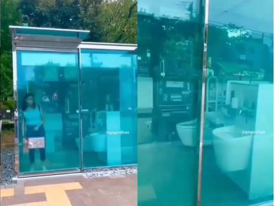 transparent toilet in japan