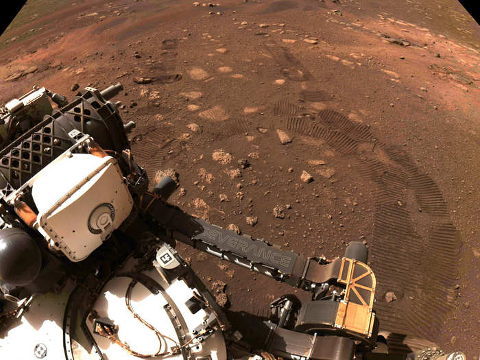 nasa perseverance rover sends images of first walk on mars