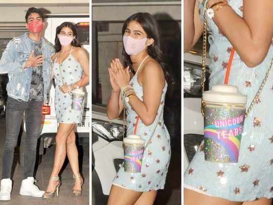 sara ali khan unicorn tears cup purse attracts attention more than her dress on ibrahim ali khan birthday party