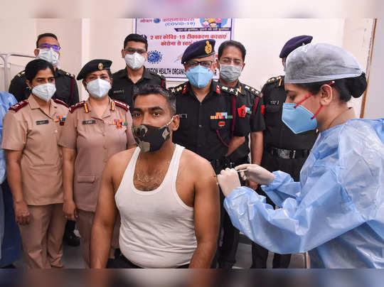 Jabalpur: Indian Army personnel receives a dose of COVID-19 vaccine at a militar...