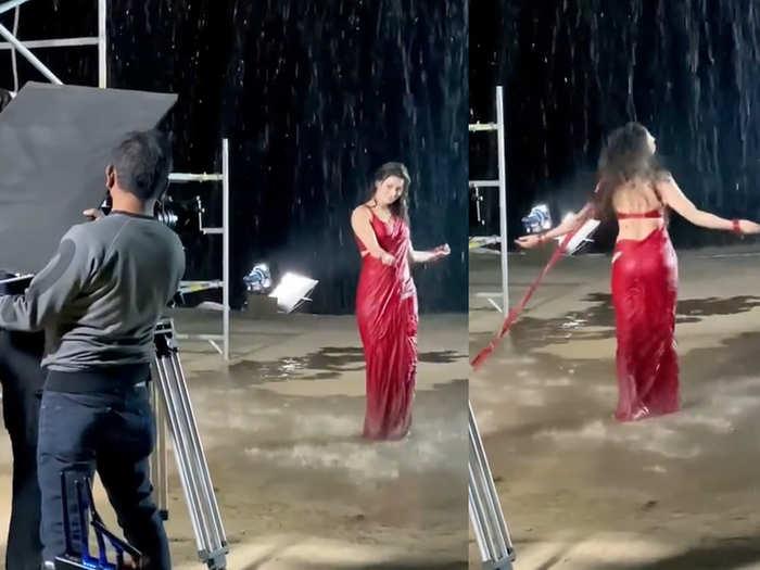 Urvashi Rautela in Red saree