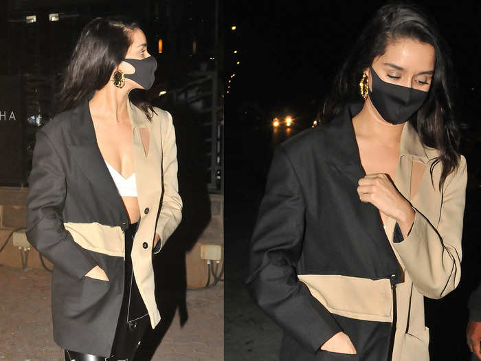shraddha kapoor fails to impress with her half and half blazer and latex pants look