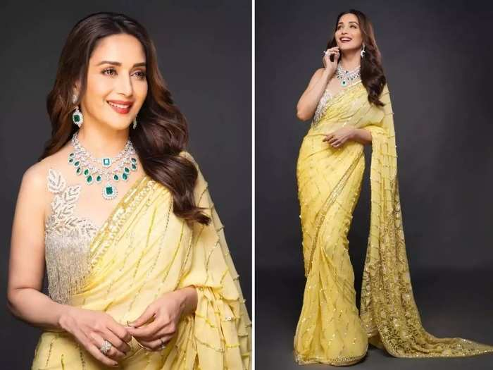 bollywood actress madhuri dixit in black color designer saree see her beautiful photos in marathi