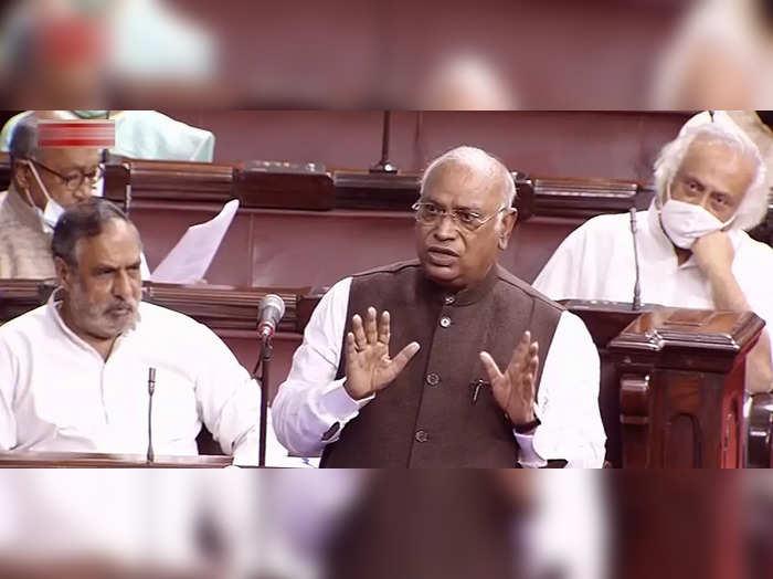 **EDS: VIDEO GRAB** New Delhi: Congress MP Mallikarjun Kharge speaks in Rajya Sa...