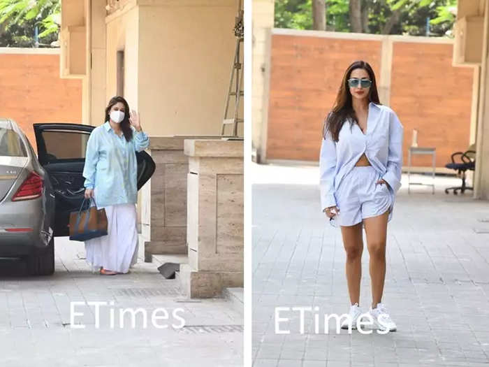 kareena kapoor khan and malaika arora clicked outside amrita arora residence here are stylish pictures