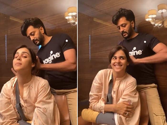 Ritesh Deshmukh Tying Genelia HAIR