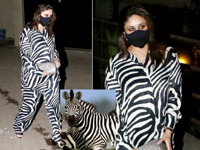 bollywood actress kareena kapoor wore zebra print set see her latest pics in marathi