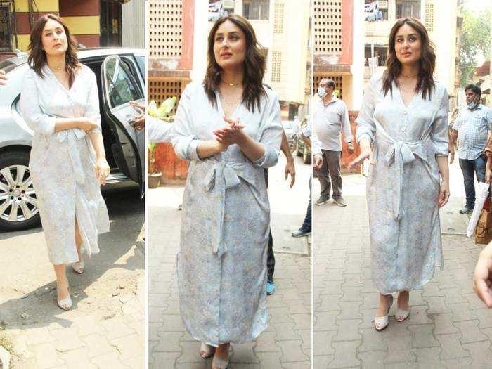 kareena kapoor khan looks stylish in thigh-slit floral shirt dress