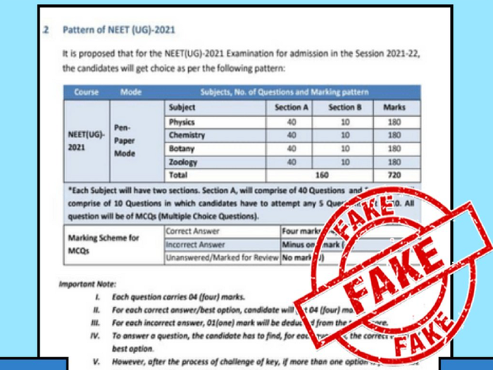 neet 2021 pattern fake