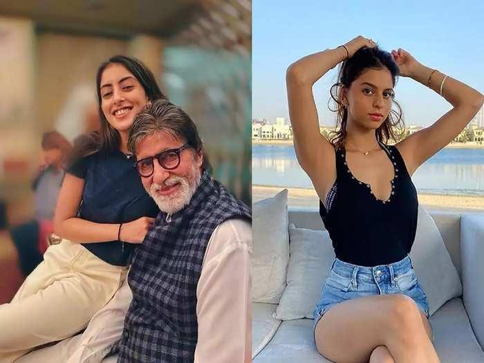 who look best amitabh bachchan grand daughter navya naveli nanda simple look vs suhana khan skin fit dress look in marathi