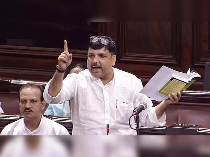 **EDS: VIDEO GRAB** New Delhi: AAP MP Sanjay Singh speaks in the Rajya Sabha dur...