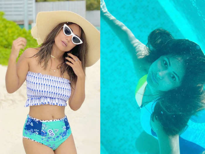after brutal trolling hina khan shares her underwater bikini photos from maldives vacation turns mermaid