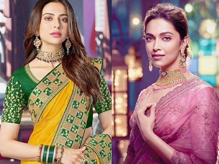 Bollywood Saree Look : दीपिका और रकुल प्रीत जैसा सेम साड़ी लुक अब केवल 599 रुपए में