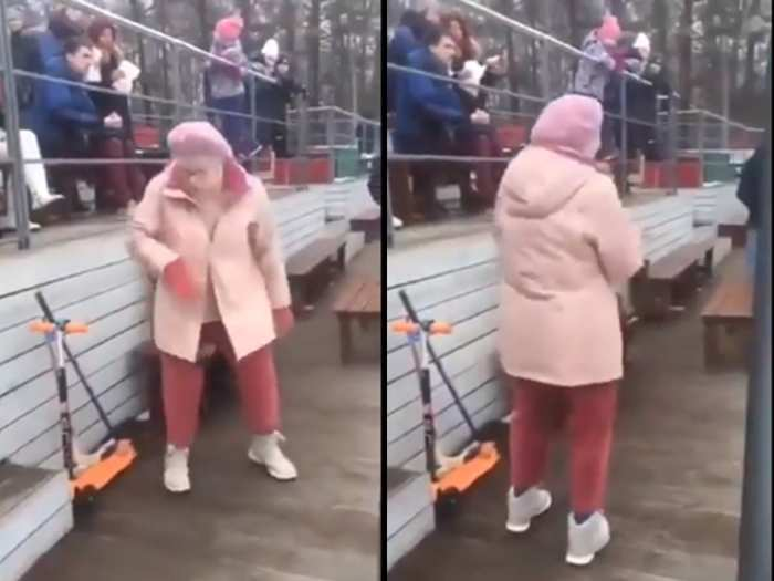 old lady viral dance video