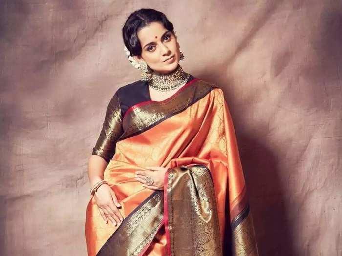 kangana ranaut looks beautiful and glamorous in handloom silk kanchipuram saree by madhurya creations in marathi