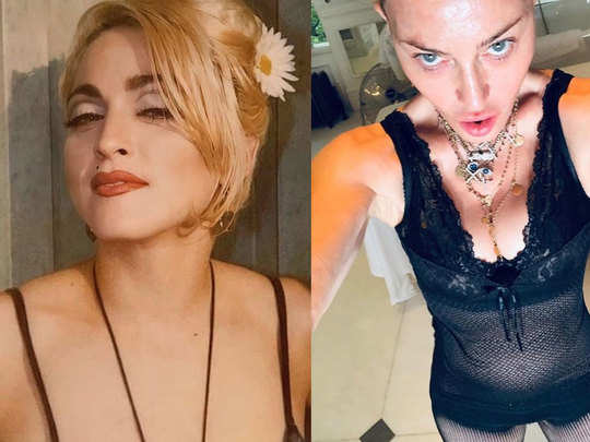 madonna shares her seductive selfies in bra and stockings on instagram
