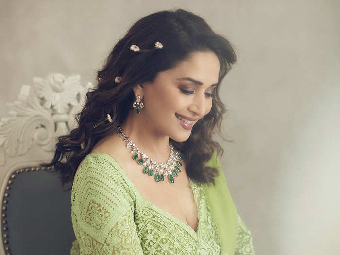 madhuri dixit green lehenga by torani is a good choice for brides mehendi ceremony