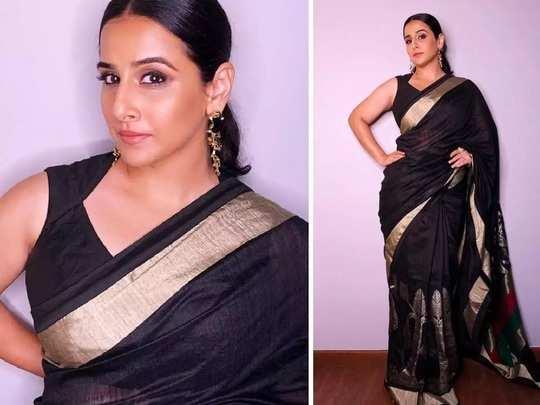 vidya balan beautiful look in black colour saree designed by abraham and thakore in marathi