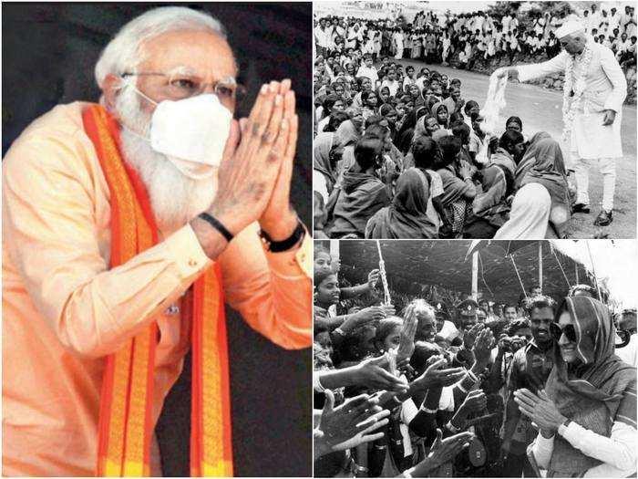 election posturing of narendra modi, rajiv gandhi, indira gandhi and jawahar lal nehru