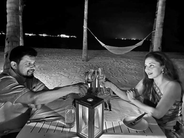 madhuri dixit and shriram nene enjoys dinner date night in maldives romantic pictures goes viral