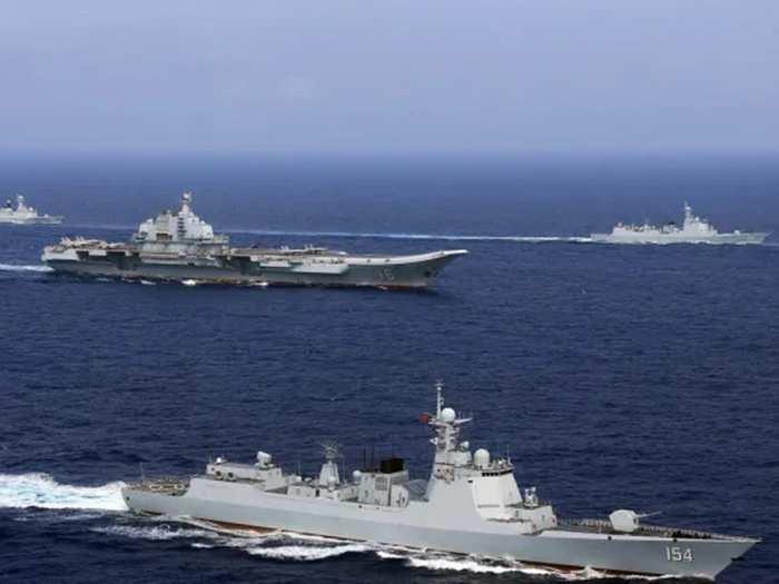 chinese navy liaoning carrier strike group passes through miyako strait, japan on high alert