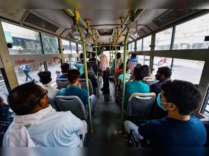 New Delhi: Passengers occupy all seats in a DTC bus, in New Delhi. Authorities a...