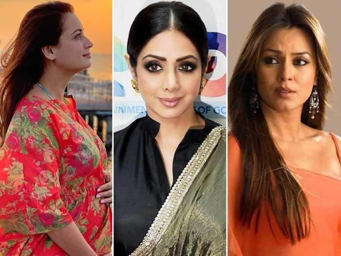 10 bollywood actresses who became pregnant before marriage dia mirza mahima chaudhary sridevi celina jaitley