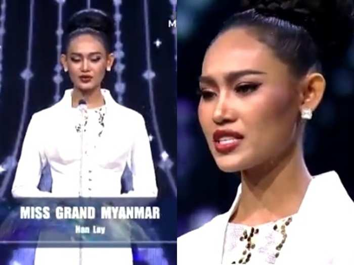 myanmar beauty queen han lay emotional speech against military coup video goes viral