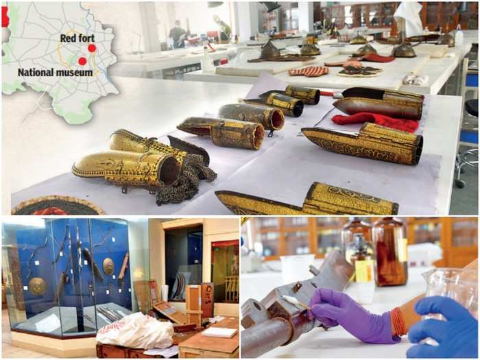 red fort will give glimpse of india 16th to 19th centuries rajput mughal weapons tipu sultan sword as nation museum decided to shift its arms