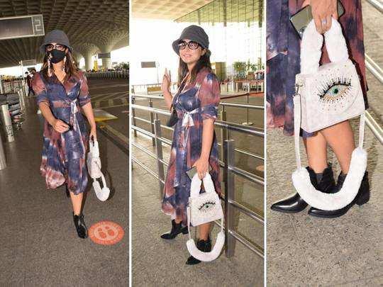 hina khan tie dye breezy wrap midi dress: एयरपोर्ट पर हिना खान के लटके-झटके  देख लोगों की छूटी हंसी, ढीले कपड़े देख हो जाएगा दिमाग खराब - hina khan  looks worst in